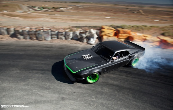 Picture smoke, mustang, drift, ford, black, rtr-x