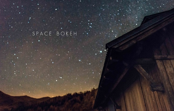 Picture space, stars, silhouette, hill, hut, shelter