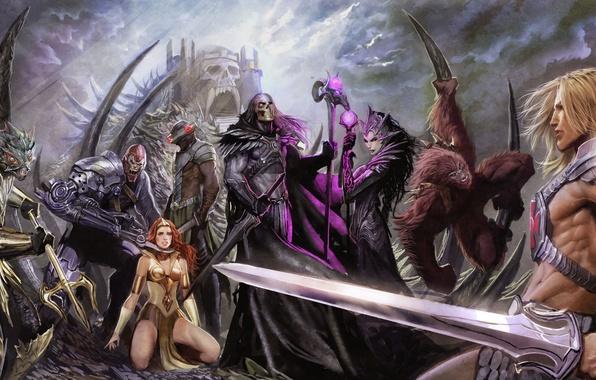 Picture girl, weapons, fiction, sword, warrior, art, creatures, shield, prisoner, muscle