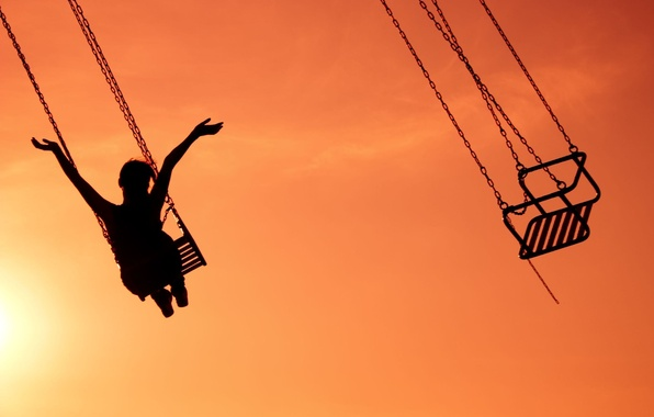 Picture the sky, girl, joy, happiness, sunset, background, swing, widescreen, Wallpaper, mood, hands, attraction, chain, girl, ...