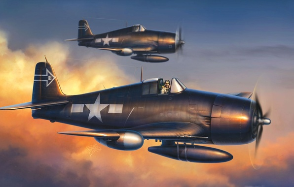 Picture figure, USA, Grumman, carrier-based fighter, F6F-5N Hellcat, Hellcat