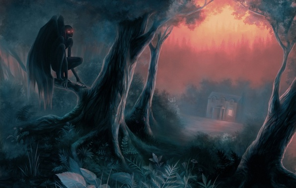 Picture forest, trees, night, house, the demon, art