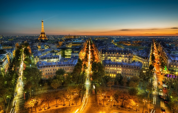 Picture the sky, trees, night, clouds, the city, lights, France, Paris, building, road, home, the evening, …