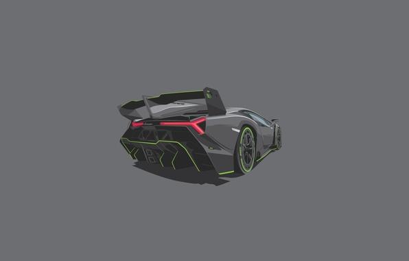 Picture Lamborghini, Wallpaper, Veneno, Rear, Fon, Minimalistic