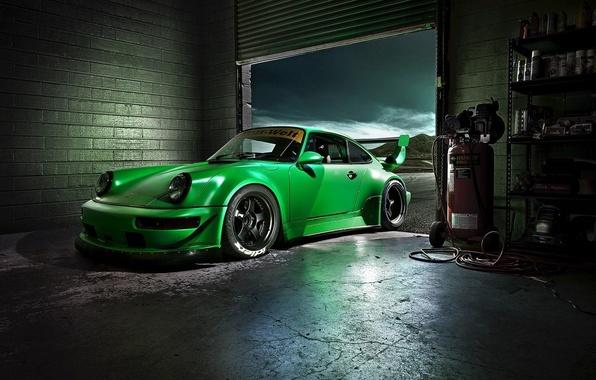 Picture Green, Machine, Desktop, Garage, Car, Porsche, Car, Beautiful, Green, Carrera, Wallpapers, Beautiful, 993, Wallpaper, The …