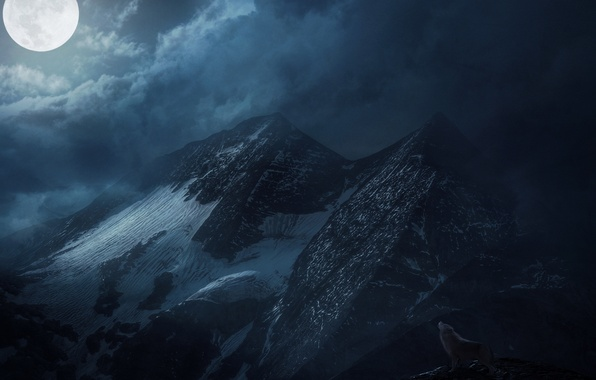 Picture clouds, snow, mountains, night, the moon, wolf