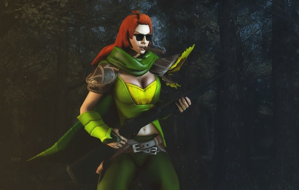 Picture greens, chest, grass, girl, night, darkness, style, weapons, Archer, glasses, hairstyle, cigar, red, shotgun, smokes, …