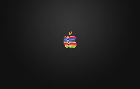 Picture apple, logo, color, cut, glued, Scotch