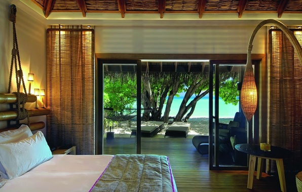 Picture beach, beautiful, view, tree, maldives, room, interior, bed, resort, moofushi, constance