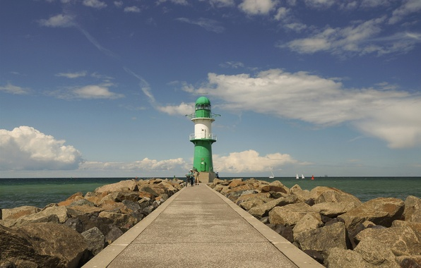 Picture sea, white, green, people, rocks, green, lighthouse, boats, Germany, Rostock, white, sea, Germany, rocks, people, …