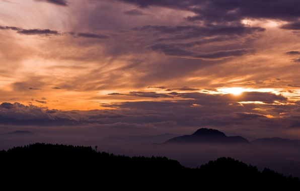 Picture clouds, landscape, mountains, nature, view, the evening