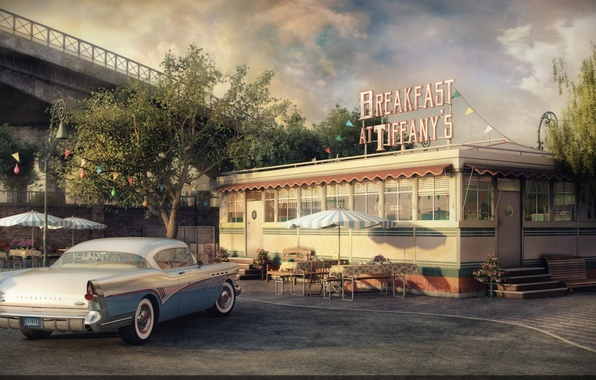 Picture car, render, cafe, Buick Roadmaster, Breakfast at Tiffany's