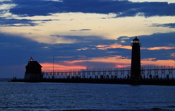Picture sea, the sky, light, clouds, people, lighthouse, The evening, pier, pierce, orange sunset