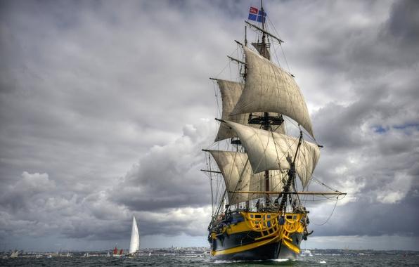 Picture sea, sailboat, frigate, Grand Turk