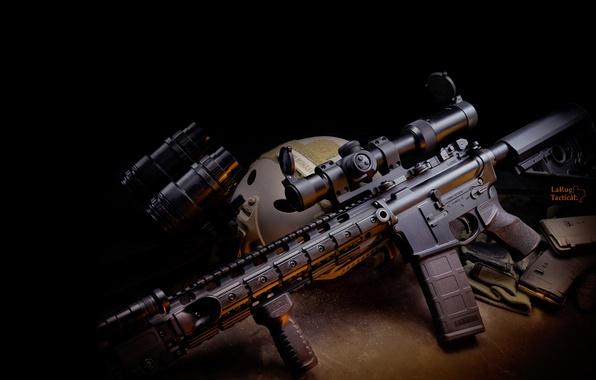 Picture weapons, gun, twilight, weapon, carabiner, automatic, hd wallpaper, assault rifle, PNV, Larue Tactical, assault carbine