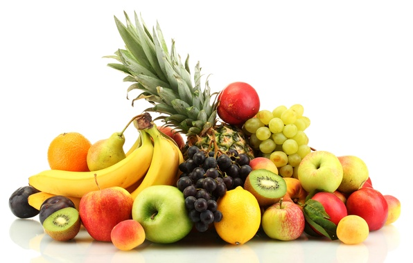 Picture berries, apples, oranges, grapes, bananas, fruit, pineapple, peaches, plum, citrus, pear, lemons, apricots, nectarine