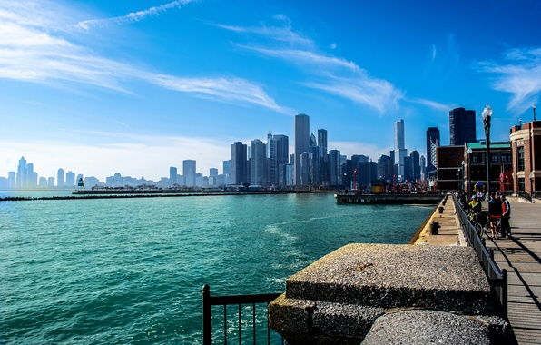 Picture summer, the sky, the city, river, people, skyscrapers, Chicago, Michigan, promenade, Illinois
