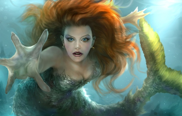 Picture look, water, hair, mermaid, hand, art, tail, fantasy, fin