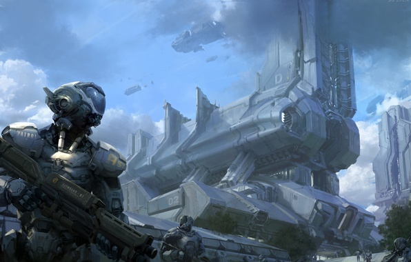 Picture clouds, metal, weapons, ships, robots, art, patrol