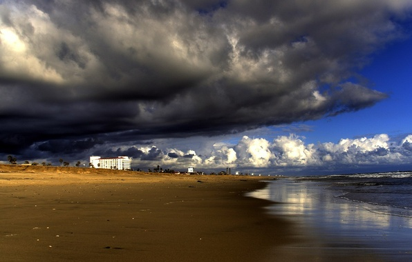 Picture clouds, storm, Shore