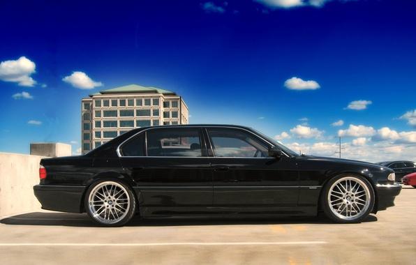 Picture the sky, clouds, black, blue, bmw, BMW, Parking, concrete, auto photo, E38, 750, seven