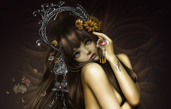 Picture girl, decoration, flowers, butterfly, tattoo, art, nana hang