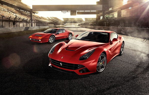 Picture Ferrari, Red, Front, Sun, Supercars, Berlinetta, F12, Track, Days, Beam, 512BB