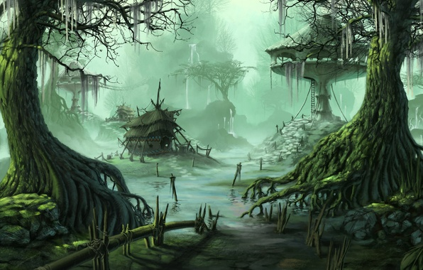 Picture water, trees, swamp, home, art, buildings