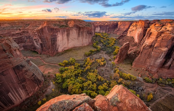 Picture the sky, clouds, trees, sunset, stream, horizon, canyon