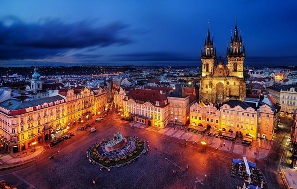 Picture the city, building, the evening, Prague, Czech Republic, lighting, area, architecture, Prague, The Czech Republic, …
