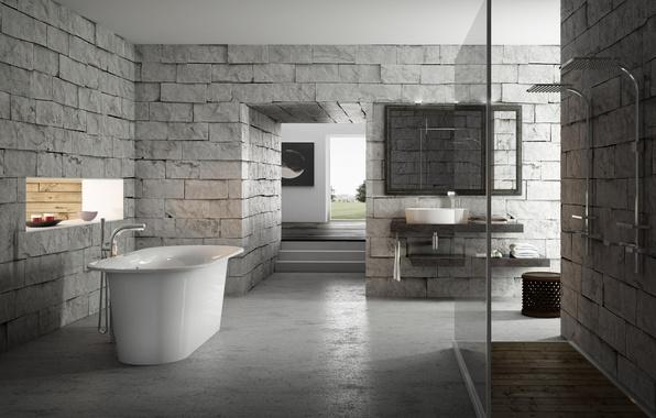 Picture design, grey, interior, brick, bath, bathroom
