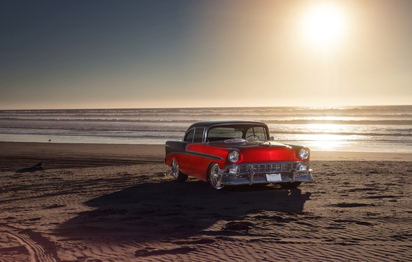 Picture Chevrolet, Red, Car, Front, Bel Air, Sun, Water, Old, Summer, Sea, 1956