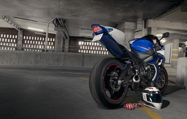 Picture blue, motorcycle, gloves, helmet, Parking, suzuki, blue, Suzuki, gsx-r1000