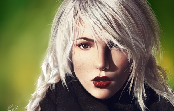 Picture look, girl, scarf, blonde, freckles, art, Nefillim