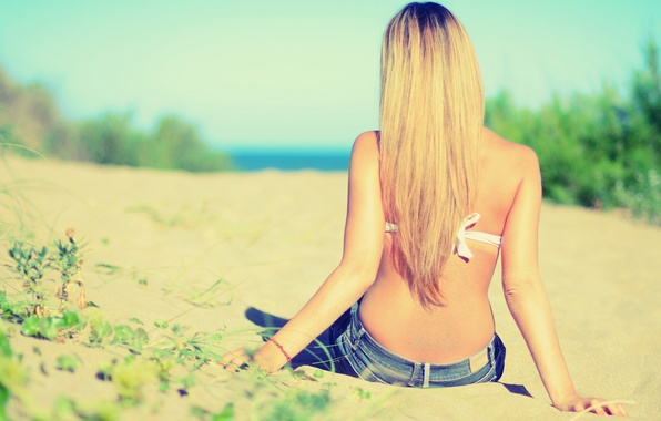 Picture The sky, Sand, Beach, Girl, Grass, Blonde, Back