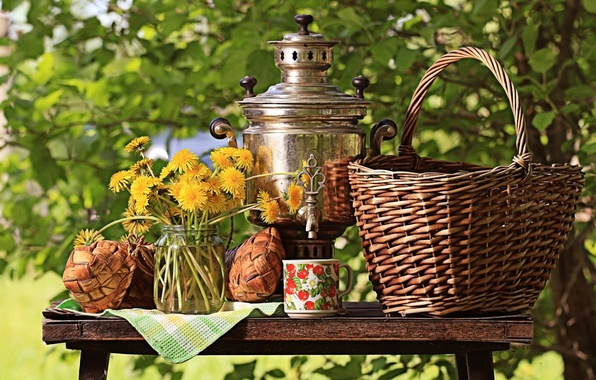 Picture greens, the sun, flowers, nature, table, basket, bouquet, yellow, Cup, Bank, still life, dandelions, samovar, …