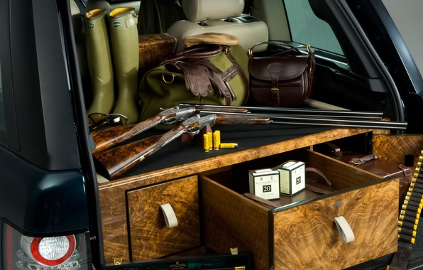 Picture boots, gloves, the trunk, Range Rover, guns, cartridges, bags, range Rover, land Rover, spec.version, Holland …