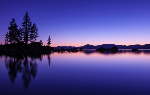 Picture the sky, water, trees, sunset, orange, lake, surface, reflection, blue, hills, shore, the evening, USA
