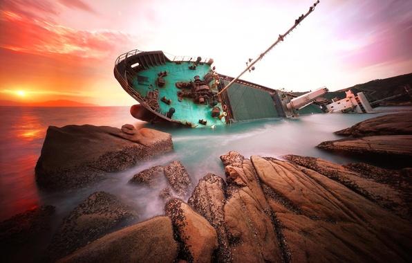 Picture sea, rocks, dawn, ship, China, shipwreck, hongkong