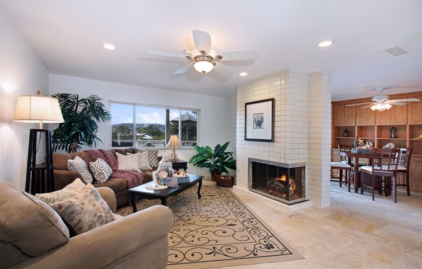 Picture design, photo, sofa, carpet, interior, chandelier, fireplace, living room