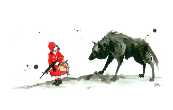 Picture weapons, wolf, little red riding hood, girl