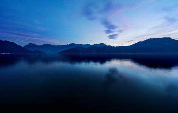 Picture mountains, lake, surface, twilight