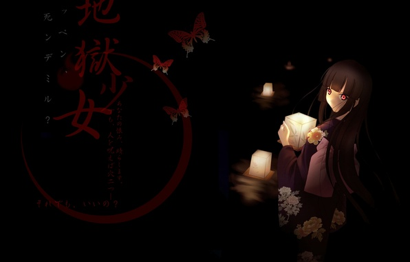 Picture girl, butterfly, candles, characters, kimono