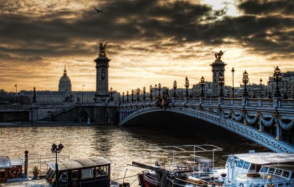 Picture river, Paris, architecture, France, hay, ponte alexandre, Pont Alexandre 3