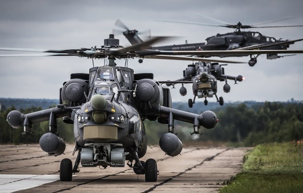 """Photo wallpaper the rise, Mi-28N, helicopters, shock, """"The eagles"""""""