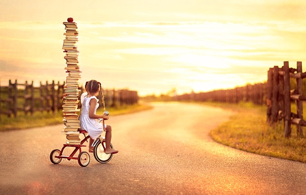 Photo wallpaper bike, books, girl, Back To School