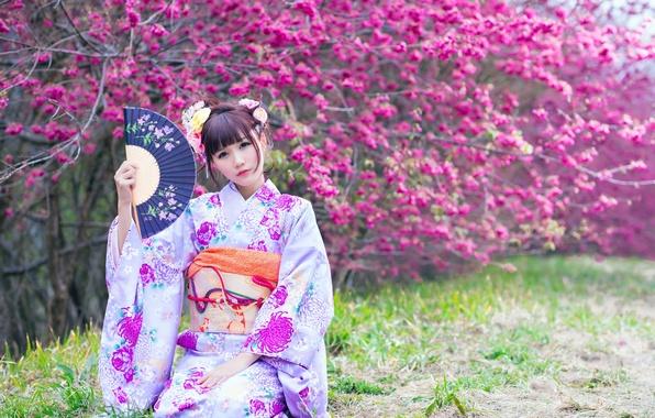 Picture girl, spring, garden, Asian