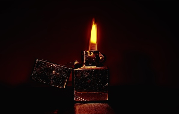 Photo Wallpaper Flame Scratches Zippo Lighter Fire
