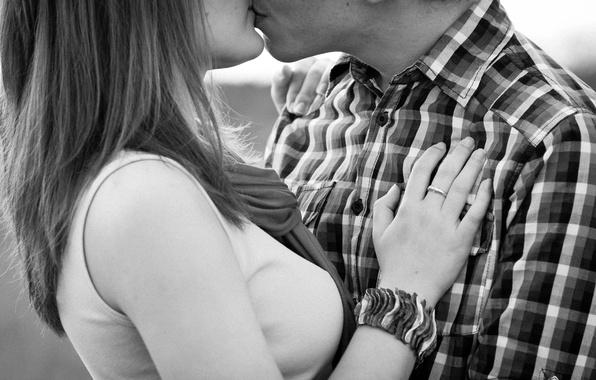 Picture girl, tenderness, feelings, black and white, kiss, pair, shirt, guy