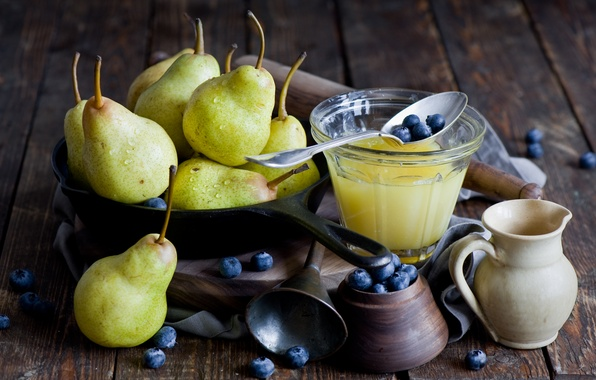 Picture photo, Glass, Fruit, Spoon, Honey, Food, Pear, Blueberries, Blueberries